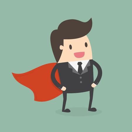 hombre fuerte: Empresario Súper. Concepto de negocio ilustración.