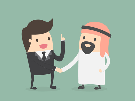 middle east: An Arab person shaking hands with a businessman. Business concept cartoon illustration.