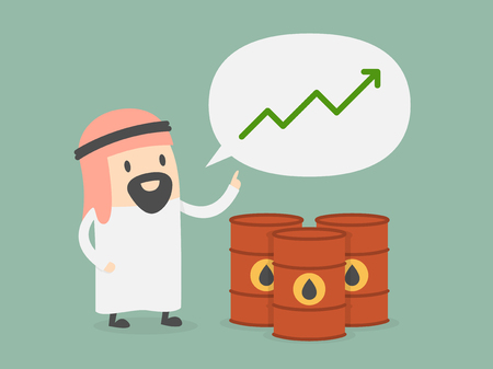 growth: Oil price growth. Business concept cartoon illustration.