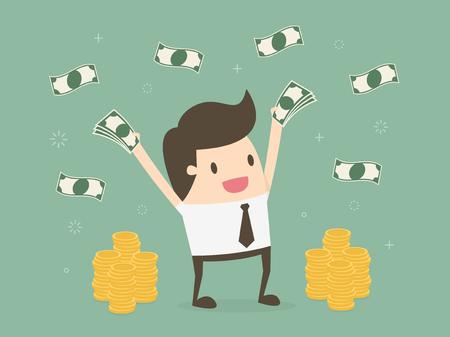 Feliz joven empresario tirar el dinero hacia arriba. concepto de negocio ilustración de dibujos animados Ilustración de vector