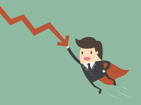 financial protection: Super businessman stop the falling down chart. Business concept cartoon illustration