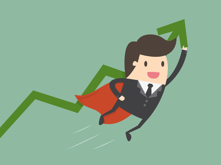 money cartoon: Super businessman with growing graph. Business concept cartoon illustration.