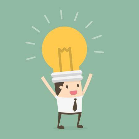 Bulb head businessman. Business concept cartoon illustration