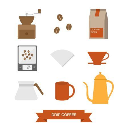 ドリップ コーヒーのアイコン セット、eps 10 ベクトル図