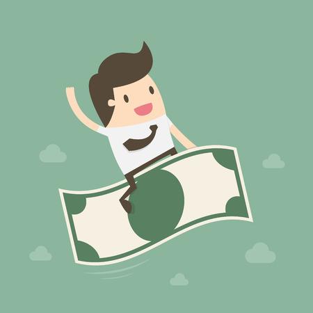 dinero volando: Empresario montar el dinero del vuelo. concepto de negocio ilustración de dibujos animados