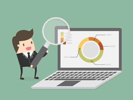 lupa: La investigación y análisis. concepto de negocio ilustración de dibujos animados