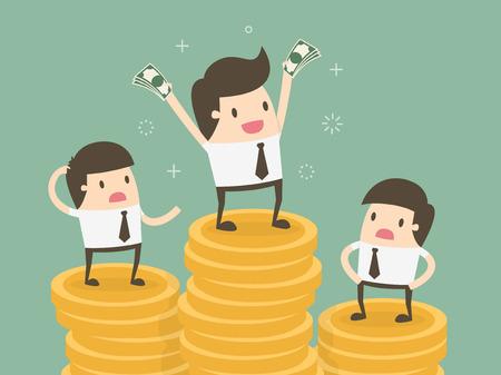 Variação salarial. Ilustração de desenhos animados de conceito de negócio Foto de archivo - 55512459