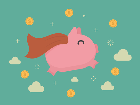 Super piggy bank. Business concept cartoon illustration