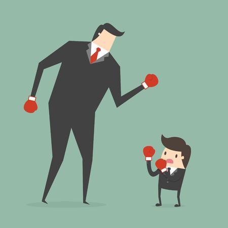 hombre fuerte: El hombre de negocios de boxeo contra un hombre de negocios gigante. concepto de negocio ilustración de dibujos animados Vectores