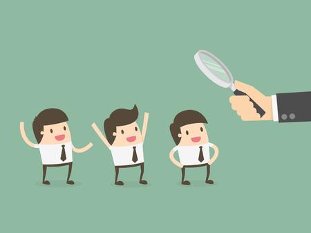 discriminacion: Oficial en busca de los empleados. Concepto de recursos humanos