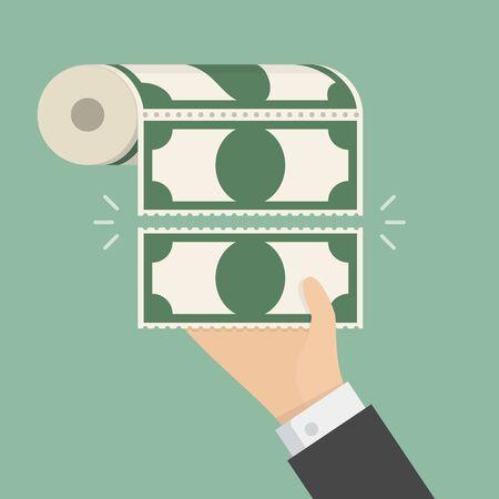 one hundred: Money Toilet Paper. Business concept illustration
