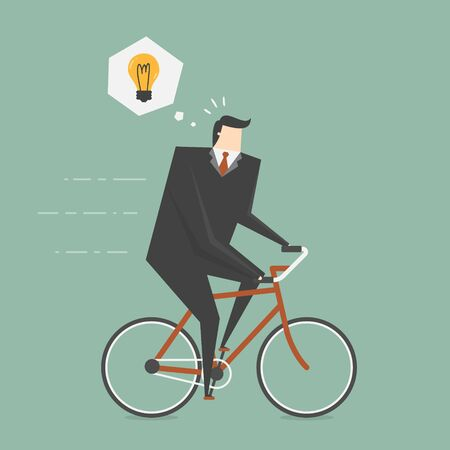 young business man: Businessman Get Idea While Cycling. Business concept cartoon illustration Illustration
