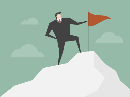 successful businessman: Successful Businessman. Businessman standing with red flag on mountain peak. Business concept cartoon illustration Illustration