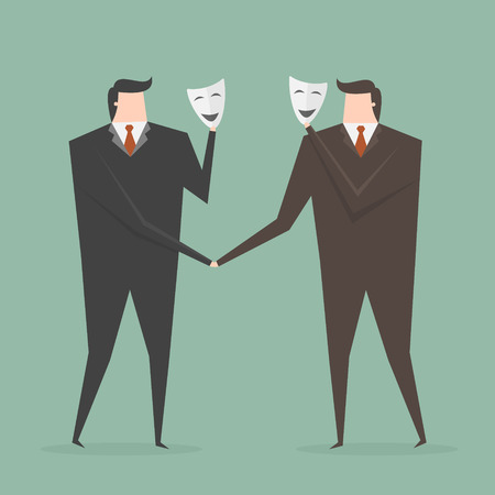 hypocrite: Businessman Shaking Hands With Partner Hiding Behind Mask. Business concept cartoon illustration.