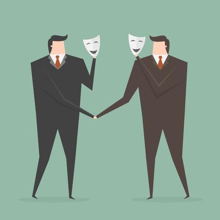 hiding: Businessman Shaking Hands With Partner Hiding Behind Mask. Business concept cartoon illustration.