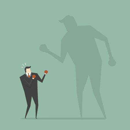 shadow man: Businessman Fighting His Shadow. Business concept cartoon illustration.