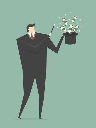 making money: Businessman Making Money From Magic Hat. Business concept cartoon illustration.