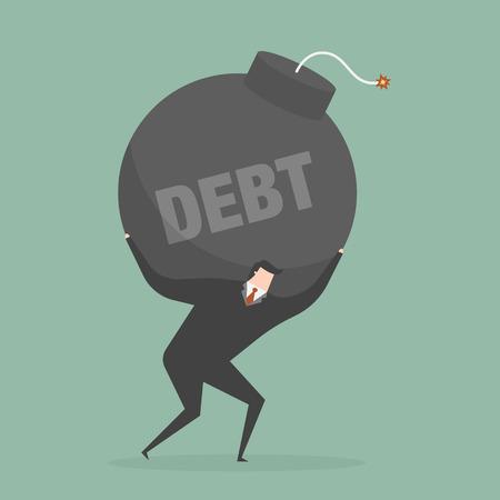 debt: Debt. Business concept illustration.
