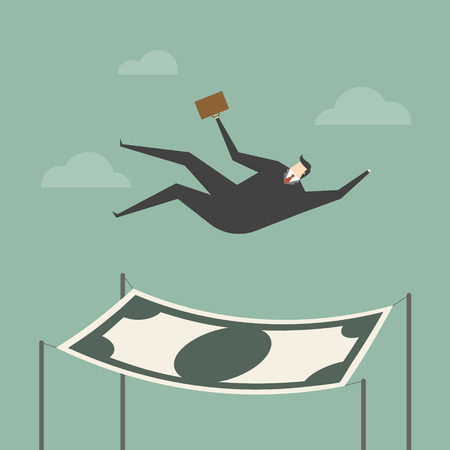 laid off: Businessman falling into a financial safety net. Business concept cartoon illustration.