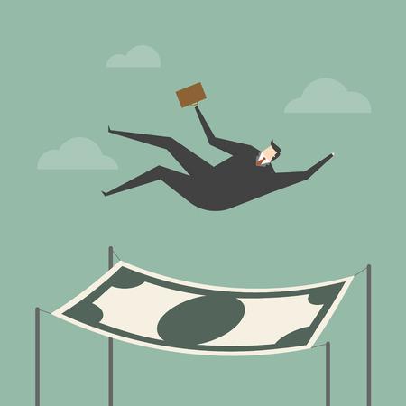 El hombre de negocios que cae en una red de seguridad financiera. concepto de negocio ilustración de dibujos animados.