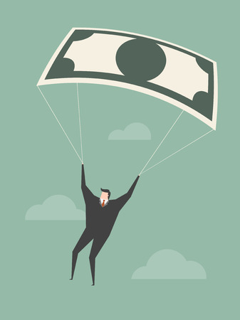 thrilling: Businessman Using Bank Note As a Parachute. Business concept cartoon illustration.