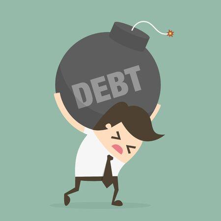 stress ball: Debt. Business concept illustration.