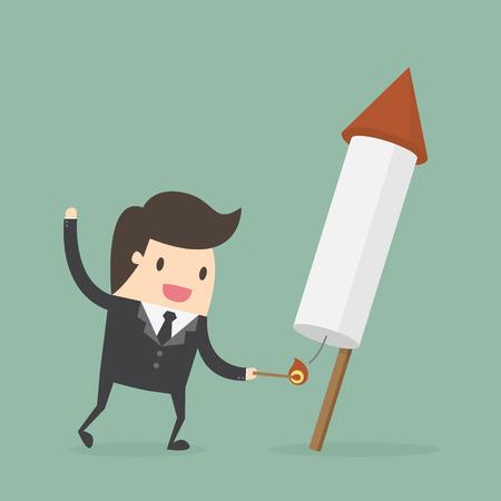 business project: Businessman launching firework rocket. Business concept cartoon illustration.