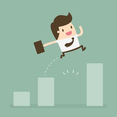 confianza: Hombre de negocios salta por el hueco de la carta de crecimiento. concepto de negocio ilustración de dibujos animados. Vectores
