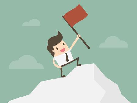 El hombre de negocios con éxito. De pie de negocios con la bandera roja en el pico de la montaña. concepto de negocio ilustración de dibujos animados