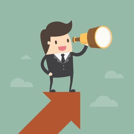 Visión y Concepto de crecimiento. Empresario se ve a través de un telescopio en la flecha de crecimiento. concepto de negocio ilustración de dibujos animados