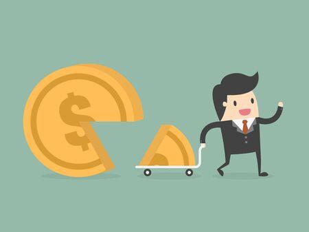 Cuota de mercado. concepto de negocio ilustración de dibujos animados.