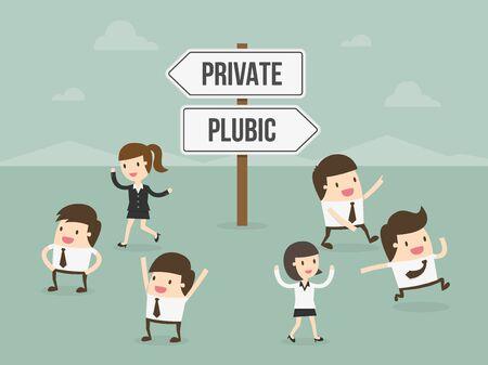 public sector: Private or Public. Business concept cartoon illustration.