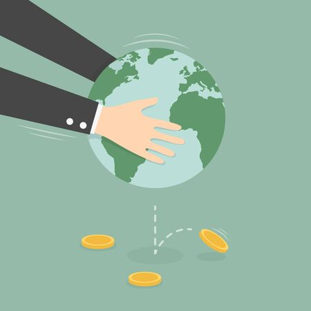 Man Taking Money Out of Globe. Business Concept Cartoon Illustration.