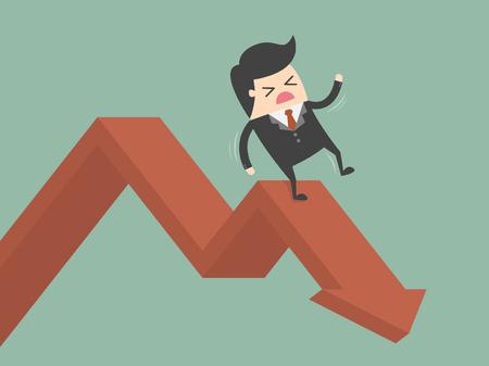 Geschäftsmann Auf Falling Down Chart. Business-Konzept Cartoon Illustration.