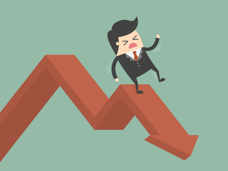 business failure: Businessman On Falling Down Chart. Business Concept Cartoon Illustration. Illustration