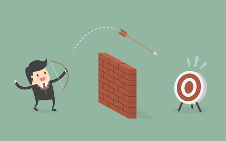 Biznesmen strzelać Strzałka przez mur do celu. Business Concept Cartoon ilustracji.
