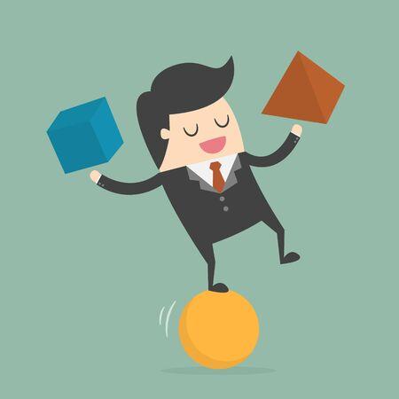 Empresario equilibrio sobre la pelota. Ilustración del asunto Concepto de dibujos animados.
