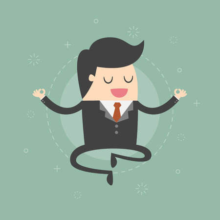 Meditating Businessman. Business Concept Cartoon Illustration. Çizim