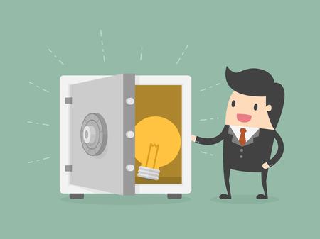 実業家と安全の案。ビジネス コンセプトの漫画イラスト。