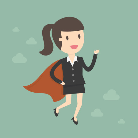 female business: Super Business Woman. Business Concept Cartoon Illustration.