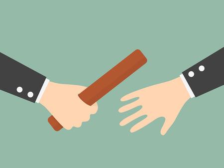 team sports: La mano del hombre de negocios que pasaba un bastón de relé. Asociación o el concepto de trabajo en equipo. Ilustración del asunto Concepto de dibujos animados.