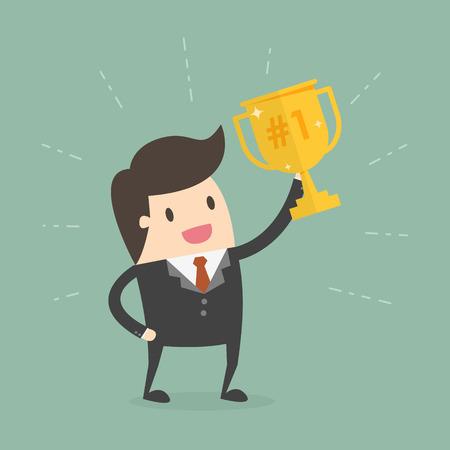 Homme d'affaires détenant un trophée. Illustration de Business Concept Cartoon.