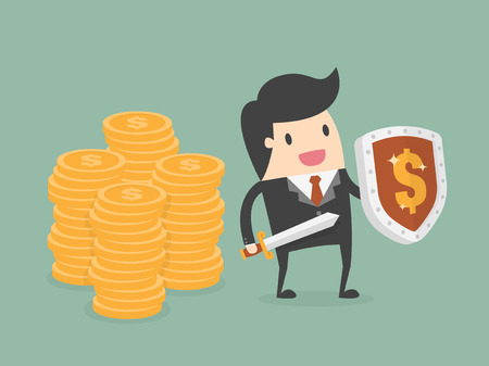 protected: Businessman Protecting Money With Shield And Sword. Business Concept Cartoon Illustration.