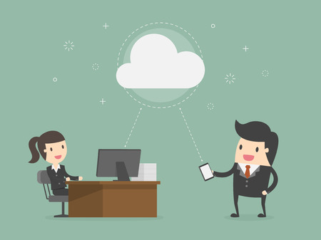 Cloud Computing. Business Concept Cartoon Illustration.