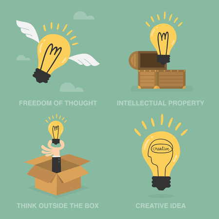 though: Idea Concept Of Freedom Of Though, Intellectual Property, Think Outside The Box, and Creative Idea. Business Concept Illustration.