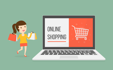 shopping cartoon: Online Shopping. Business Concept Cartoon Illustration.