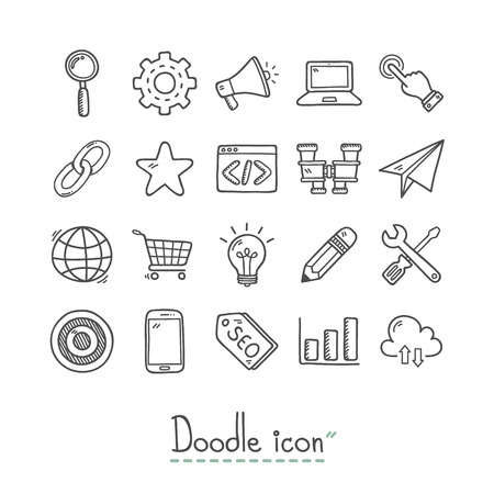 SEO Icon. Doodles Icon. Hand drawn Icon. Vettoriali