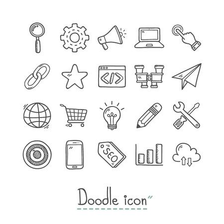 seo: SEO Icon. Doodles Icon. Hand drawn Icon. Illustration