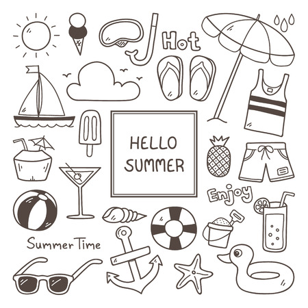 Summer Doodles. Summer Icon Set. Hand Drawn Doodle Icon.