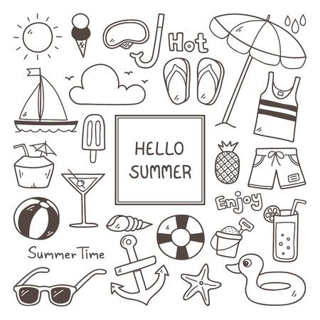 summer holiday: Summer Doodles. Summer Icon Set. Hand Drawn Doodle Icon. Illustration
